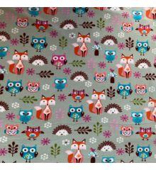 Printed Anti-Pil Polar Fleece Fabric 20+ Designs-Owls & Foxes - Green
