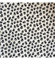 Printed Anti-Pil Polar Fleece Fabric 20+ Designs-Paw Print - Black on Cream