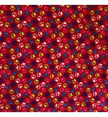 Printed Anti-Pil Polar Fleece Fabric 20+ Designs-Paw Print - Red