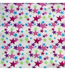 Printed Anti-Pil Polar Fleece Fabric 20+ Designs-Stars - Cream