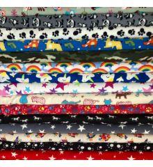 Printed Anti-Pil Polar Fleece Fabric 20+ Designs-Owls & Foxes - Tan