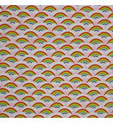 Rainbows Polycotton Fabric-Pink