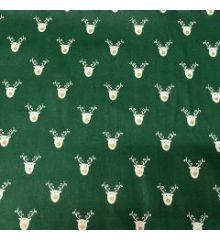 Christmas Reindeer Faces 100% Cotton Poplin-Green