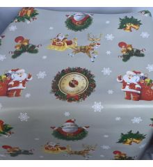 Santas & Clocks Christmas PVC Tablecloth Fabric