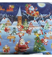 Santa North Pole Christmas PVC Tablecloth Fabric