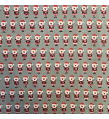 Christmas Santa Claus 100% Cotton Poplin-Grey