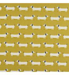 Fryetts Ochre Sausage Dog 100% Cotton Fabric