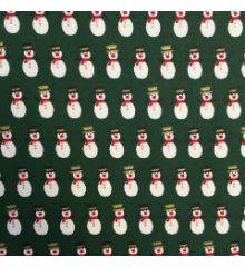 Christmas Snowmen Top Hats 100% Cotton Poplin-Green