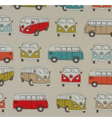 Fryetts VW Camper Van Orange 100% Cotton Fabric