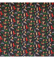 Christmas Polycotton Fabric - Christmas Woodland Animals-Navy