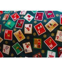 Christmas Stamps Cotton Poplin