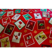 Christmas Stamps Cotton Poplin-Red