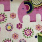 Printed Anti-Pil Fleece - Pink Elephants & Flowers