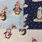 Christmas Penguins Polycotton