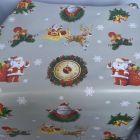 Santas & Clocks Christmas PVC Tablecloth Fabric